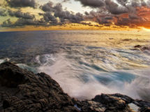 Sunset of Big island stock photography