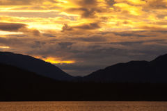 Sunset at Big Salmon Lake. Yukon Territory, Canada Stock Photos