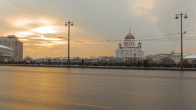 Sunset on the Big Stone Bridge in Moscow, Russia Stock Photos