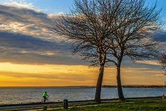 Sunset Bike Ride Royalty Free Stock Images