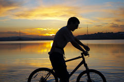 Sunset biker Royalty Free Stock Photography