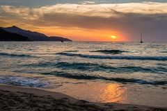 Sunset at the biodola beach royalty free stock photography