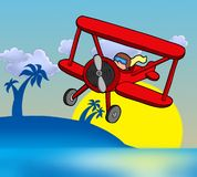 Sunset with biplane. Color illustration Stock Photos