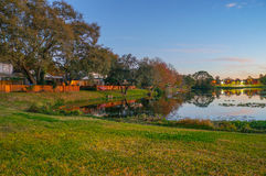 Sunset, birds and a small lake in florida Royalty Free Stock Photo