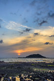 Sunset with Biyangdo island Stock Photography