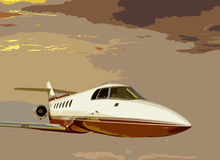 Sunset bizjet Stock Images