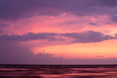 Sunset on Black Sea. Sunset on sea with purple sky. Black Sea, Russia stock photography