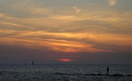 Sunset at Black sea Stock Images