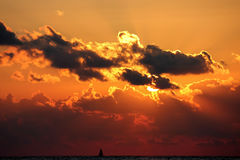 Sunset in the Black Sea. Hosta, russia, August 21, 2011 Royalty Free Stock Photo