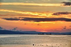 The sunset on Black sea Stock Photo