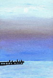 Sunset on Black sea. Original oil painting of the beach in Crimea. Hand paint art. Royalty Free Stock Images