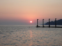 Sunset at the Black Sea. Seaside Sochi, Russia Royalty Free Stock Photos