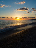 Sunset on the Black Sea. In the summer, Lazarevskoye Royalty Free Stock Image