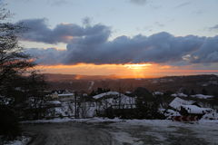 Sunset. On the Black Sea in winter, view from the village of Merry Stock Photography
