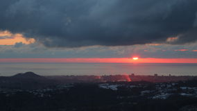 Sunset. On the Black Sea in winter, view from the village of Merry Royalty Free Stock Photo