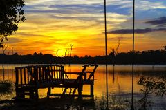 Sunset with black shadow. In lagoon at Mukdahan national park county of,Thailand Royalty Free Stock Photo