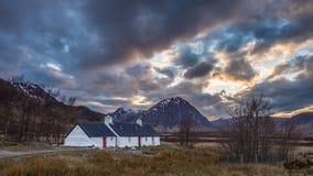 Sunset at Blackrock Cottage, Glencoe Stock Image