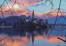 Beautiful sunset at Bled lake stock photos