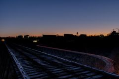Sunset / Blue Hour - Abandoned Young`s High Bridge - Norfolk & Western Railroad - Kentucky River - Kentucky stock photos