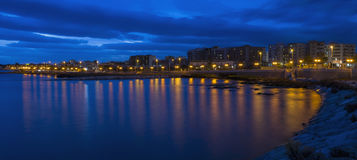 Sunset in the blue hour - Gargano. Sunset in the blue hour in Manfredonia - Gargano - Apulia Stock Photography