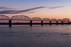 Sunset / Blue Hour at Historic Brookport Bridge - Ohio River, Brookport, Illinois & Kentucky Stock Photo