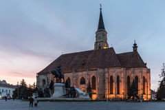 Sunset Blue Hour At Saint Michael Roman Catholic Church Stock Images