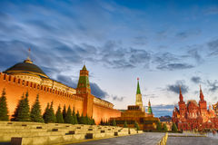 Sunset blue hour view of the Red Square, Moscow Kremlin, Lenin mausoleum, historican Museum in Russia. World famous Moscow landmar Royalty Free Stock Photo