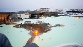 Sunset Blue lagoon in iceland. Time laps of the twilight over the Blue Lagoon geothermal bath resort in Iceland stock video