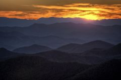 Sunset On the Blue Ridge Parkway Stock Photo