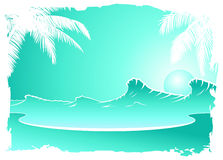 Sunset in Blue. Silhouettes of palm trees on beach with a sunset royalty free illustration