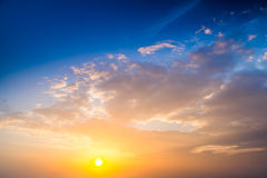 Sunset. blue sky and clouds. Stock Photo