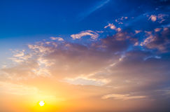 Sunset. blue sky and clouds. Stock Image