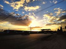 sunset blue yellow shade road clouds royalty free stock images