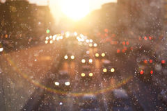 Sunset in blurry winter city Royalty Free Stock Photography