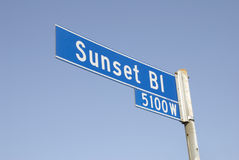 Sunset Blvd Street Sign 2. A Sunset Blvd Street Sign in Los Angeles Royalty Free Stock Image