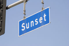 Sunset Blvd Street Sign. A Hollywood Blvd Street Sign in Los Angeles Royalty Free Stock Photos
