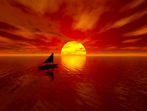 Sunset and boat stock photography