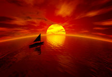 Sunset and boat Royalty Free Stock Photos