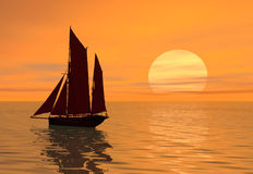 Sunset boat. A boat sailing into the sunset Stock Photography