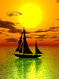 Sunset & boat. In sky background Royalty Free Stock Image