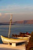 sunset boat in europe greece santorini Stock Images