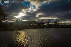 Sunset by the Boat House. In Humboldt Park in Chicago Stock Images