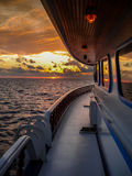Sunset from the boat. Maldives Royalty Free Stock Image