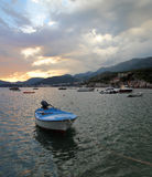 Sunset boat in Montenegro Royalty Free Stock Photo