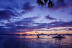 Sunset with boat. Philippines Stock Image