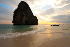 Sunset Boat Railay Beach Thailand Horizontal Royalty Free Stock Photography