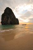 Sunset Boat Railay Beach Thailand Vertical Royalty Free Stock Photos