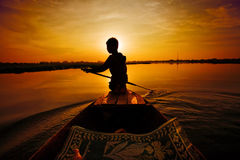 Sunset boat ride royalty free stock photos