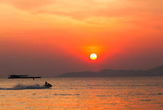 Sunset boat in Thailand. Royalty Free Stock Photography