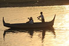 Sunset on the boat, view from U Bein Bridge Royalty Free Stock Images